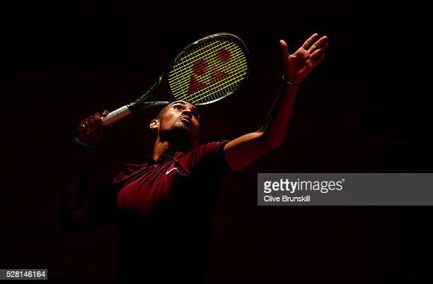 Nick Kyrgios of Australia serves during his straight sets victory against Stanislas Wawrinka of Switzerland in their second round match during day...