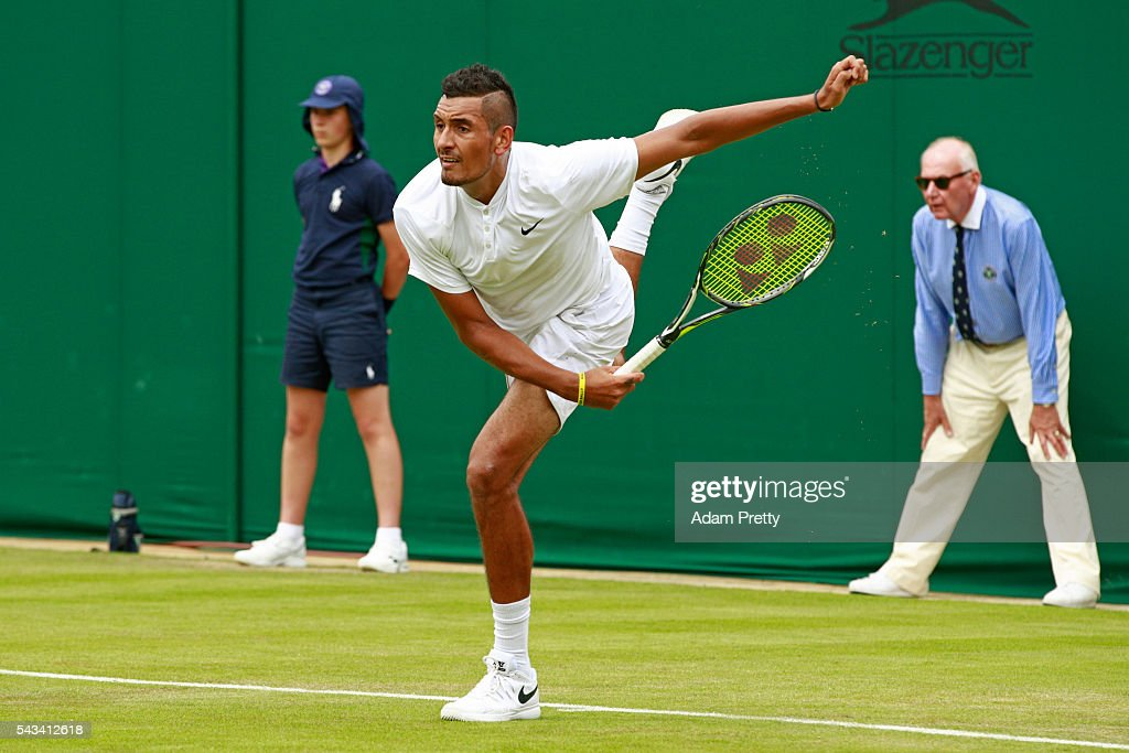<a gi-track='captionPersonalityLinkClicked' href=/galleries/search?phrase=Nick+Kyrgios&family=editorial&specificpeople=6705178 ng-click='$event.stopPropagation()'>Nick Kyrgios</a> of Australia serves during the Men's Singles first round match against Radek Stepanek of The Czech Republic on day two of the Wimbledon Lawn Tennis Championships at the All England Lawn Tennis and Croquet Club on June 28, 2016 in London, England.