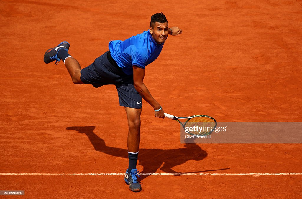 <a gi-track='captionPersonalityLinkClicked' href=/galleries/search?phrase=Nick+Kyrgios&family=editorial&specificpeople=6705178 ng-click='$event.stopPropagation()'>Nick Kyrgios</a> of Australia serves during the Men's Singles third round match against Richard Gasquet of France on day six of the 2016 French Open at Roland Garros on May 27, 2016 in Paris, France.