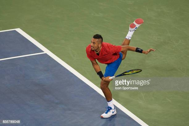 Nick Kyrgios of Australia serves the ball during his quarter final match against Rafael Nadal of Spain in the Western Southern Open at the Lindner...