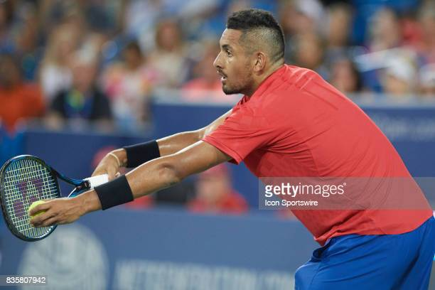 Nick Kyrgios of Australia serves the ball to David Ferrer of Spain during their semifinal match in the Western Southern Open at the Lindner Family...