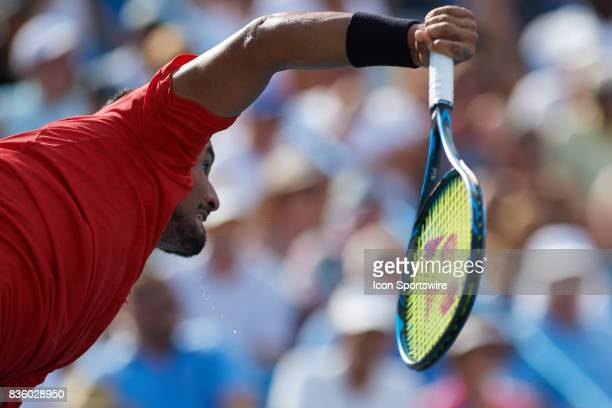 Nick Kyrgios of Australia serves the ball to Grigor Dimitrov of Bulgaria during the men's finals in the Western Southern Open at the Lindner Family...