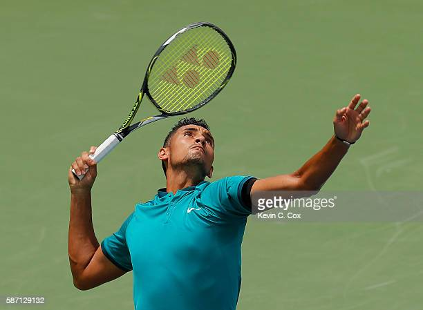 Nick Kyrgios of Australia serves to John Isner during the finals of the BBT Atlanta Open at Atlantic Station on August 7 2016 in Atlanta Georgia