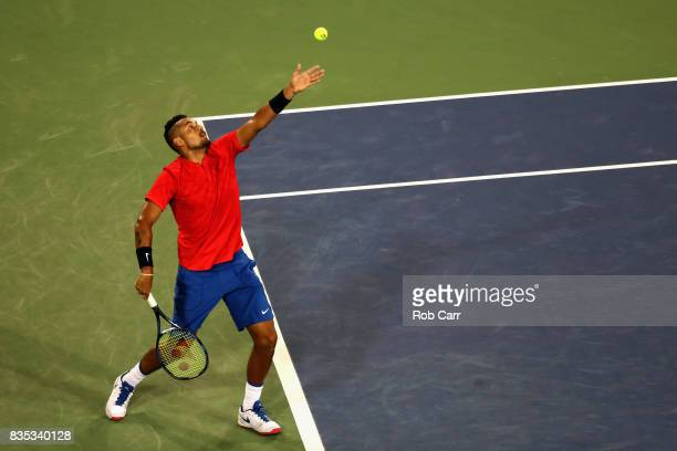 Nick Kyrgios of Australia serves to Rafael Nadal of Spain during Day 7 of the Western and Southern Open at the Linder Family Tennis Center on August...