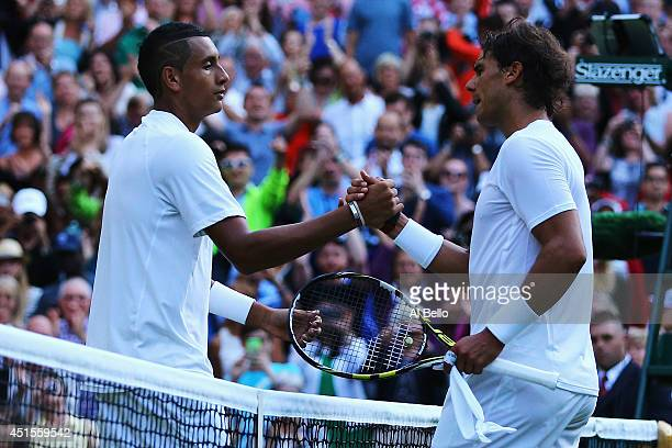 Nick Kyrgios of Australia shakes hands with Rafael Nadal of Spain after their Gentlemen's Singles fourth round match on day eight of the Wimbledon...