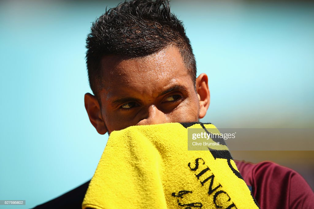 <a gi-track='captionPersonalityLinkClicked' href=/galleries/search?phrase=Nick+Kyrgios&family=editorial&specificpeople=6705178 ng-click='$event.stopPropagation()'>Nick Kyrgios</a> of Australia shows his dejection against Guido Pella of Argentina in their first round match during day four of the Mutua Madrid Open tennis tournament at the Caja Magica on May 03, 2016 in Madrid,Spain.