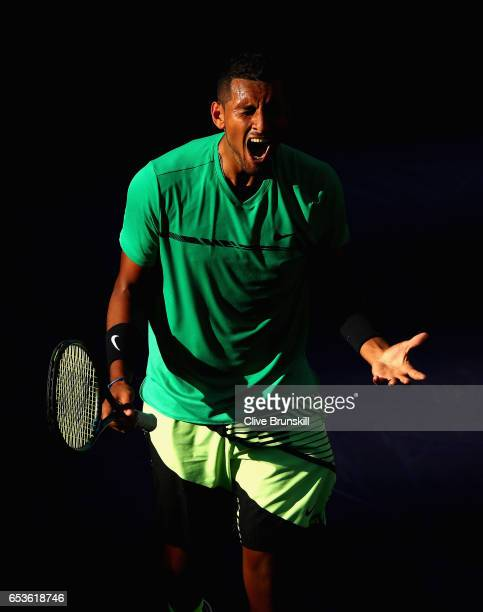 Nick Kyrgios of Australia shows his emotion after a point during his straight set victory against Novak Djokovic of Serbia in their fourth round...
