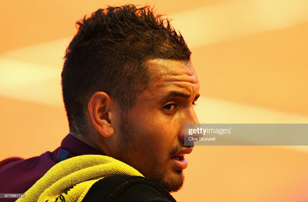 <a gi-track='captionPersonalityLinkClicked' href=/galleries/search?phrase=Nick+Kyrgios&family=editorial&specificpeople=6705178 ng-click='$event.stopPropagation()'>Nick Kyrgios</a> of Australia shows his emotions against Guido Pella of Argentina in their first round match during day four of the Mutua Madrid Open tennis tournament at the Caja Magica on May 03, 2016 in Madrid,Spain.