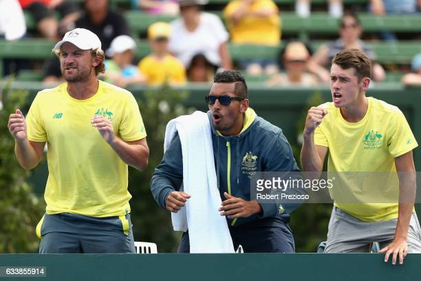 Nick Kyrgios of Australia shows his support as Jordan Thompson of Australia competes in his singles match against Jan Satral of Czech Republic during...