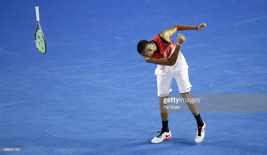 Nick Kyrgios of Australia throws his racquet in disgust during his third round match against Tomas Berdych of Czech Republic on day five of the 2016 Australian Open at Melbourne Park on January 22, 2016 in Melbourne, Australia.