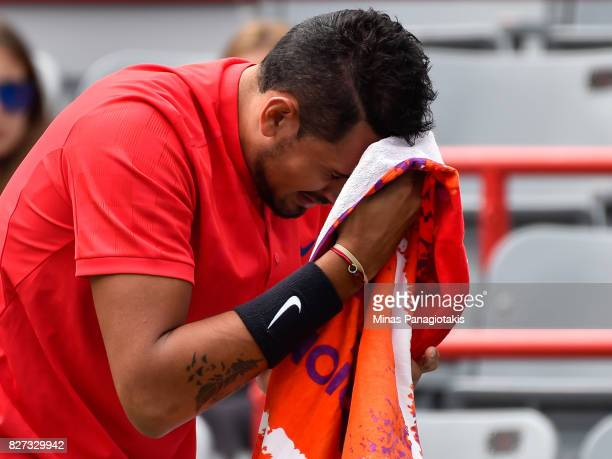 Nick Kyrgios of Australia wipes himself down against Viktor Troicki of Serbia Montenegro during day four of the Rogers Cup presented by National Bank...