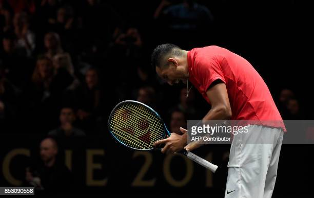 Nick Kyrgios of Team World reacts during his match against Roger Federer of Team Europe at the Laver Cup on September 24 2017 in O2 Arena in Prague /...