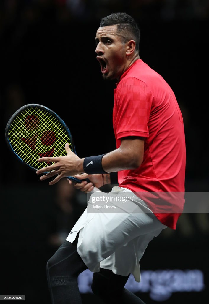 Nick Kyrgios of Team World reacts during his mens singles match against Roger Federer of Team Europe on the final day of the Laver cup on September 24, 2017 in Prague, Czech Republic. The Laver Cup consists of six European players competing against their counterparts from the rest of the World. Europe will be captained by Bjorn Borg and John McEnroe will captain the Rest of the World team. The event runs from 22-24 September.