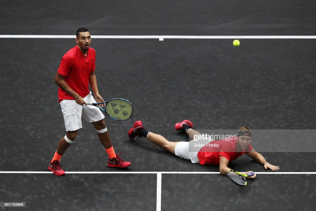 Nick Kyrgios playing with Jack Sock of Team World during there doubles match against Tomas Berdych and Rafael Nadal of Team Europe on the first day of the Laver Cup on September 22, 2017 in Prague, Czin action ech Republic. The Laver Cup consists of six European players competing against their counterparts from the rest of the World. Europe will be captained by Bjorn Borg and John McEnroe will captain the Rest of the World team. The event runs from 22-24 September.