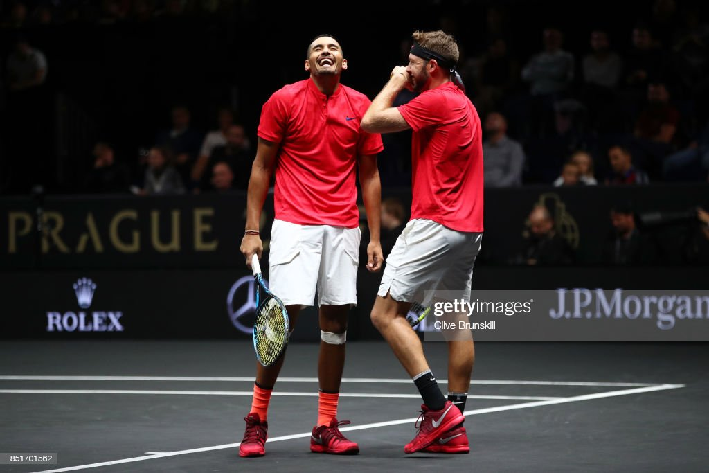 Nick Kyrgios playing with Jack Sock of Team World react during there doubles match against Tomas Berdych and Rafael Nadal of Team Europe on the first day of the Laver Cup on September 22, 2017 in Prague, Czech Republic. The Laver Cup consists of six European players competing against their counterparts from the rest of the World. Europe will be captained by Bjorn Borg and John McEnroe will captain the Rest of the World team. The event runs from 22-24 September.