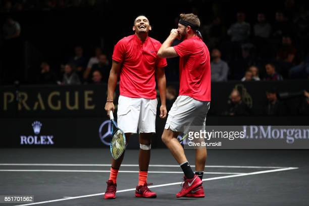 Nick Kyrgios playing with Jack Sock of Team World react during there doubles match against Tomas Berdych and Rafael Nadal of Team Europe on the first...