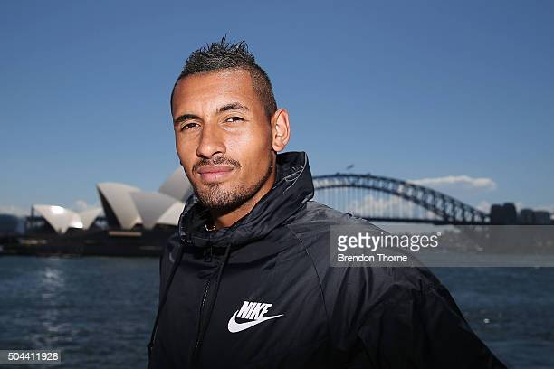 Nick Kyrgios poses during the FAST4Tennis media opportunity on Sydney Harbour on January 11 2016 in Sydney Australia