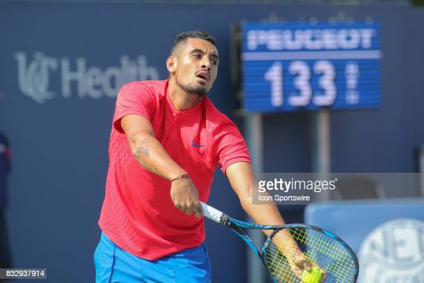 Nick Kyrgios prepares to serve during the Western Southern Open at the Lindner Family Tennis Center in Mason Ohio on August 15 2017