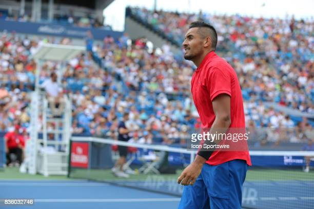 Nick Kyrgios reacts during the championship match against Grigor Dimitrov during the Western Southern Open at the Lindner Family Tennis Center in...