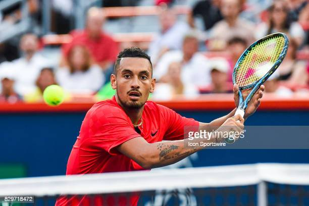 Nick Kyrgios returning the ball during his third round match at ATP Coupe Rogers on August 10 at Uniprix Stadium in Montreal QC