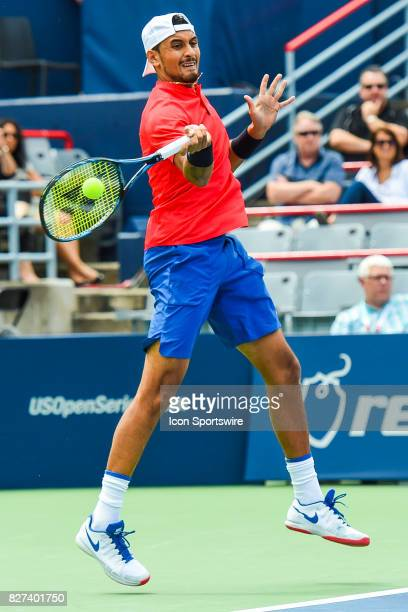 Nick Kyrgios returns a ball during his first round match at ATP Coupe Rogers on August 7 at Uniprix Stadium in Montreal QC