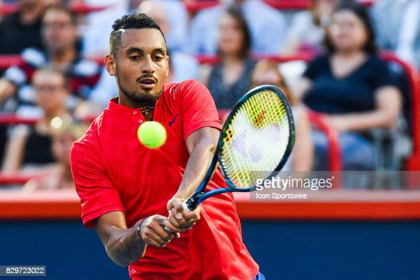 Nick Kyrgios returns the ball during his third round match at ATP Coupe Rogers on August 10 at Uniprix Stadium in Montreal QC