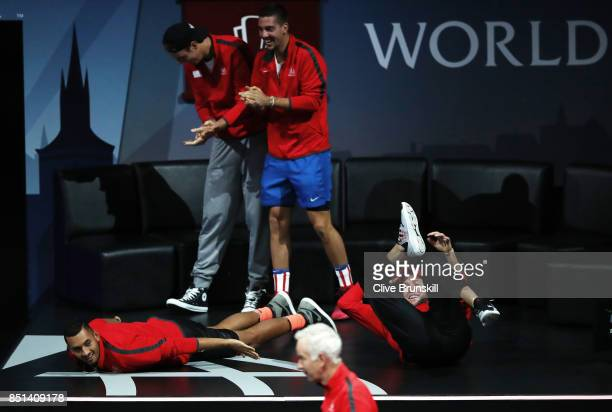 Nick Kyrgios Sam Querrey Thanasi Kokkinakis and Jack Sock of Team World reacts as Dominic Thiem of Team Europe plays his singles match against John...