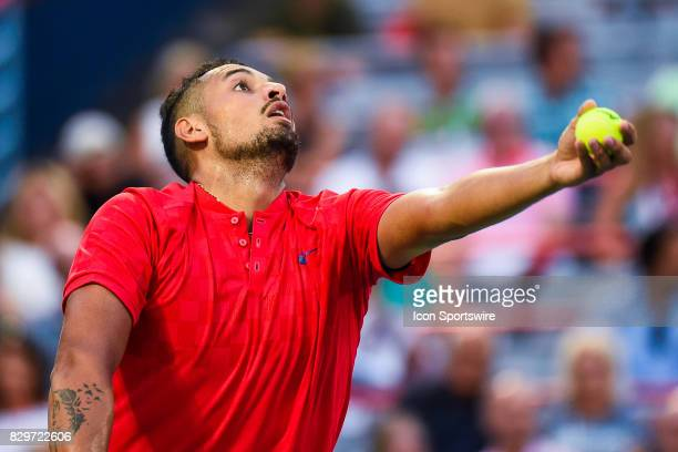 Nick Kyrgios serves the ball during his third round match at ATP Coupe Rogers on August 10 at Uniprix Stadium in Montreal QC