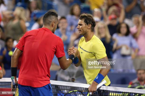 Nick Kyrgios shakes hands with opponent Rafael Nadal after their match at The Western Southern Open at the Lindner Family Tennis Center in Mason Ohio...