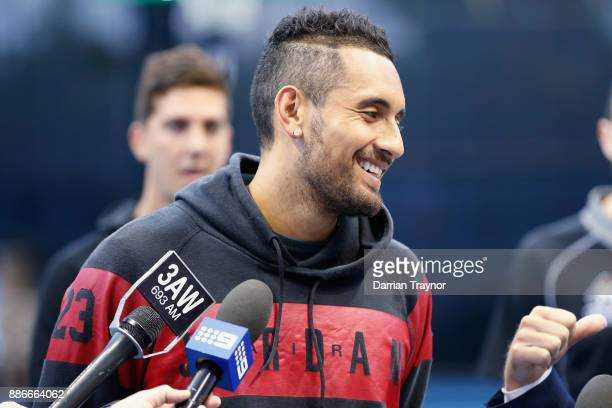 Nick Kyrgios speaks to the media during an Australian Open announcement at Melbourne Park on December 6 2017 in Melbourne Australia