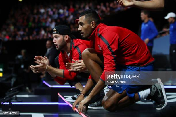 Nick Kyrgios Thanasi Kokkinakis Jack Sock and Frances Tiafoe of Team World watch on Rafael Nadal of Team Europe plays his mens singles match against...