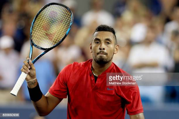 Nick Kyrgiuos of Australia acknowledges the crowd after defeating David Ferrer of Spain during day 8 of the Western Southern Open at the Lindner...