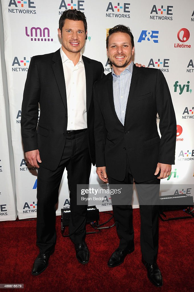 Nick Lachey and Drew Lachey attend the 2014 AE Networks Upfront on May 8 2014 in New York City