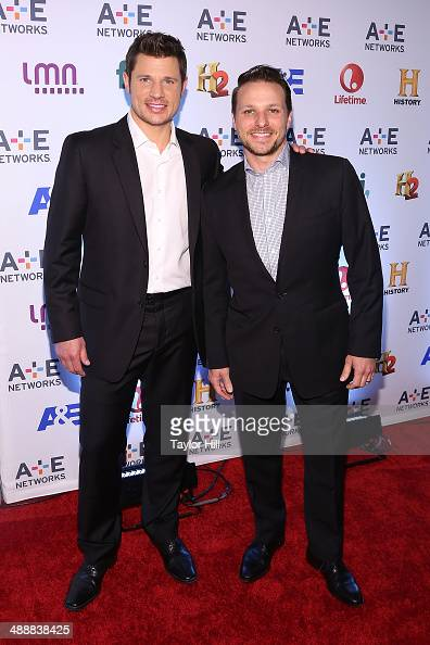 Nick Lachey and Drew Lachey attend the 2014 AE Networks Upfronts at Park Avenue Armory on May 8 2014 in New York City