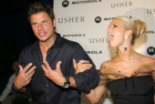 Nick Lachey and Jessica Simpson during Usher Motorola Post VMA Party at The Shore Club August 29 2004 at Shore Club in Miami Florida United States
