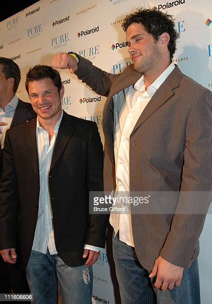 Nick Lachey and Matt Leinart during Matt Leinart Celebrates NFL Draft at Pure Nightclub in Las Vegas at Caesars Palace in Las Vegas Nevada United...