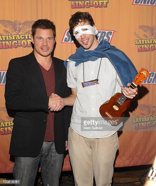 Nick Lachey and Michael Beaudoin winner of Snickers 'Satisfaction Singoff'