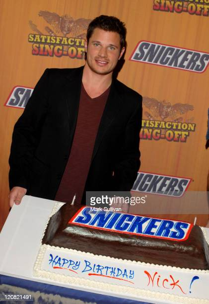 Nick Lachey and Snickers birthday cake during Nick Lachey Crowns National Winner in Snickers 'Satisfaction Singoff' Contest at House of BluesSunset...