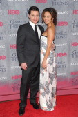 Nick Lachey and Vanessa Lachey attend the 'Game Of Thrones' Season 4 New York premiere at Avery Fisher Hall Lincoln Center on March 18 2014 in New...