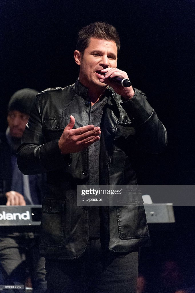 <a gi-track='captionPersonalityLinkClicked' href=/galleries/search?phrase=Nick+Lachey&family=editorial&specificpeople=201832 ng-click='$event.stopPropagation()'>Nick Lachey</a> of 98 Degrees attends the Package Tour Special Announcementat Irving Plaza on January 22, 2013 in New York City.