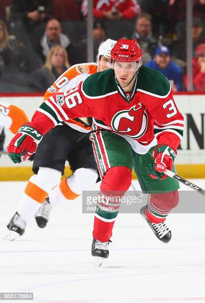 Nick Lappin of the New Jersey Devils skates against the Philadelphia Flyers during the game at Prudential Center on March 16 2017 in Newark New Jersey