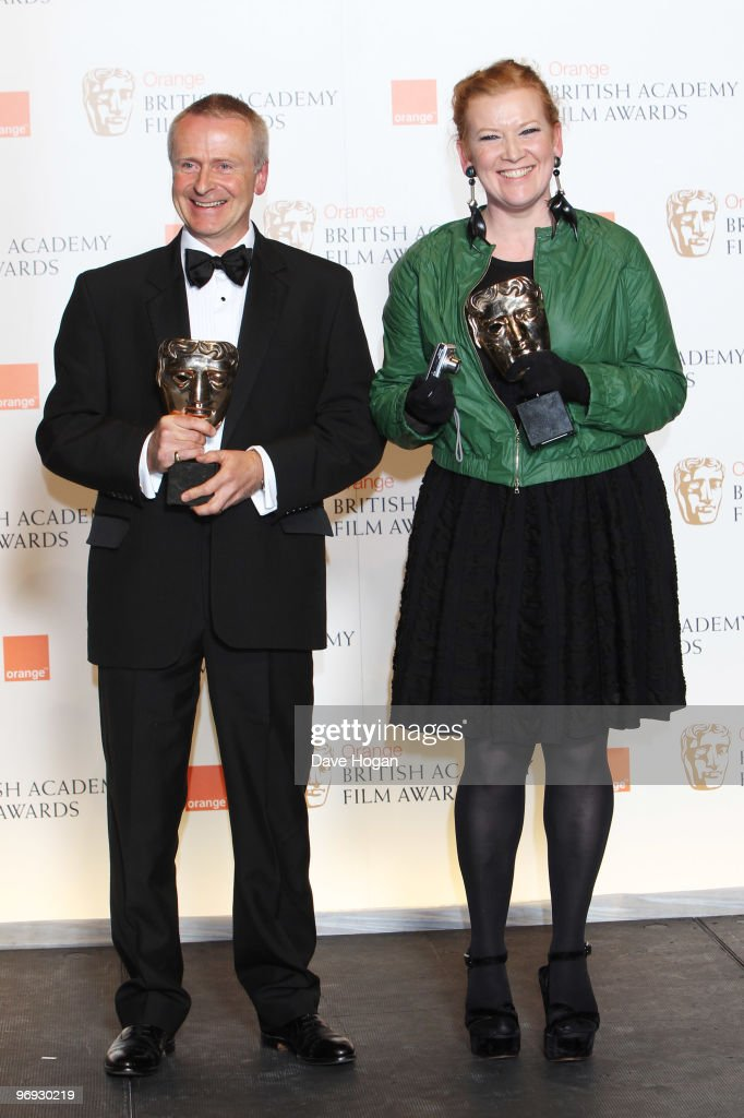 L-R Nick Laws and <a gi-track='captionPersonalityLinkClicked' href=/galleries/search?phrase=Andrea+Arnold&family=editorial&specificpeople=606927 ng-click='$event.stopPropagation()'>Andrea Arnold</a> pose with their outstanding British film award for Fish Tank in front of the winners boards at the Orange British Academy Film Awards held at The Royal Opera House on February 21, 2010 in London, England.