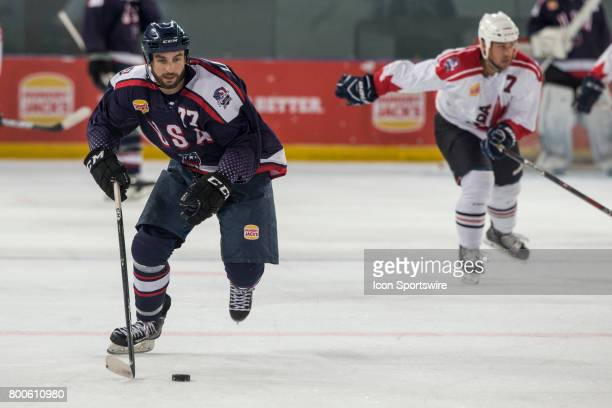 Nick Lazorko of Team USA controls the puck during the Melbourne Game of the Ice Hockey Classic on June 24 2017 held at Hisence Arena Melbourne...