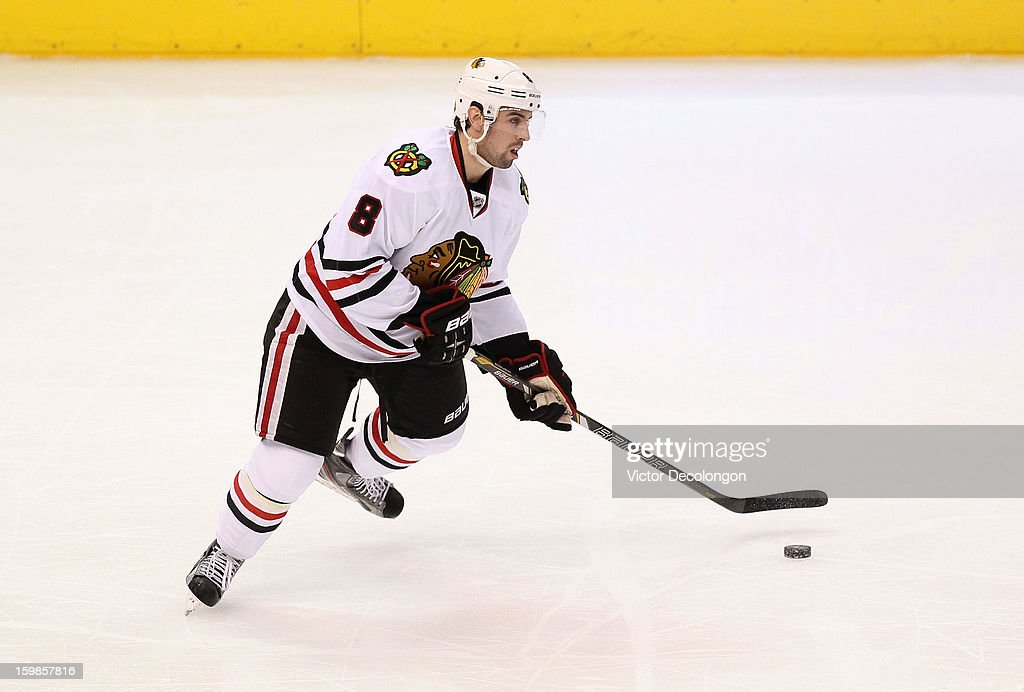 <a gi-track='captionPersonalityLinkClicked' href=/galleries/search?phrase=Nick+Leddy&family=editorial&specificpeople=5894600 ng-click='$event.stopPropagation()'>Nick Leddy</a> #8 of the Chicago Blackhawks controls the puck in the defensive zone during the NHL game the Los Angeles Kings at Staples Center on January 19, 2013 in Los Angeles, California. The Blackhawks defeated the Kings 5-2.