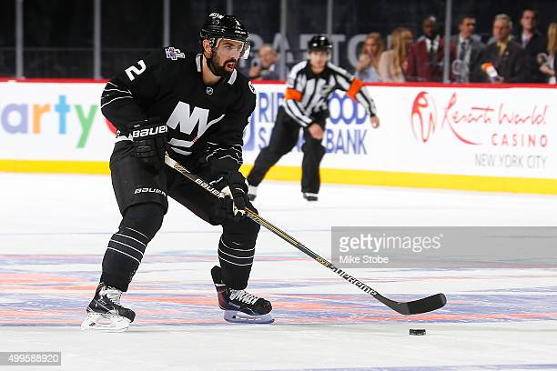 Nick Leddy of the New York Islanders skates against the Montreal Canadiens at the Barclays Center on November 20 2015 in Brooklyn borough of New York...