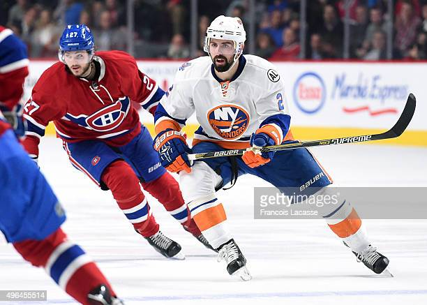 Nick Leddy of the New York Islanders skates against the Montreal Canadiens in the NHL game at the Bell Centre on November 5 2015 in Montreal Quebec...