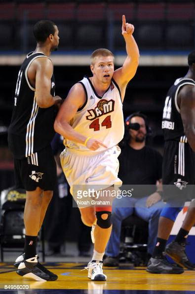Nick Lewis of the Bakersfield Jam after scoring against the Austin Toros in a NBAD League Game at the Rabobank Arena on February 19 2009 in...