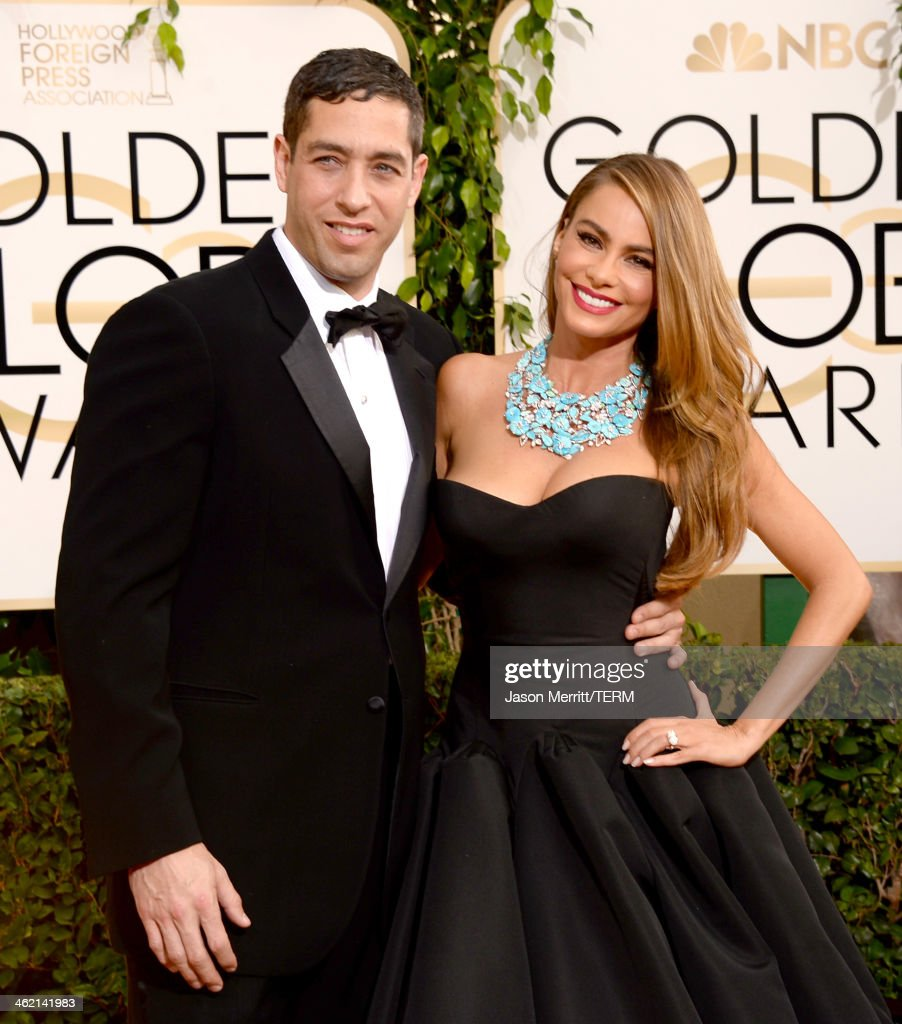 Nick Loeb (L) and actress Sofia Vergara attend the 71st Annual Golden Globe Awards held at The Beverly Hilton Hotel on January 12, 2014 in Beverly Hills, California.