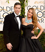 Nick Loeb and actress Sofia Vergara attend the 71st Annual Golden Globe Awards held at The Beverly Hilton Hotel on January 12 2014 in Beverly Hills...