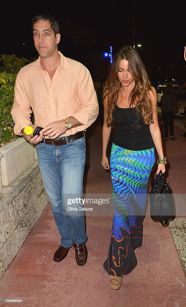 Nick Loeb and <a gi-track='captionPersonalityLinkClicked' href=/galleries/search?phrase=Sofia+Vergara&family=editorial&specificpeople=214702 ng-click='$event.stopPropagation()'>Sofia Vergara</a> are seen at Prime 112 Steakhouse on January 2, 2013 in Miami Beach, Florida.